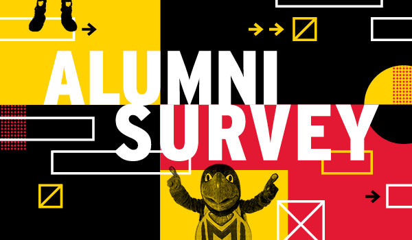 Alumni Survey - Testudo over a collage of the Maryland Flag