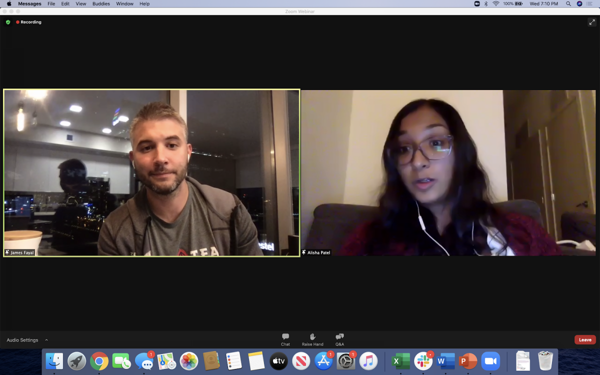 James Fayal '12 and Alisha Patel '22 on a Zoom call