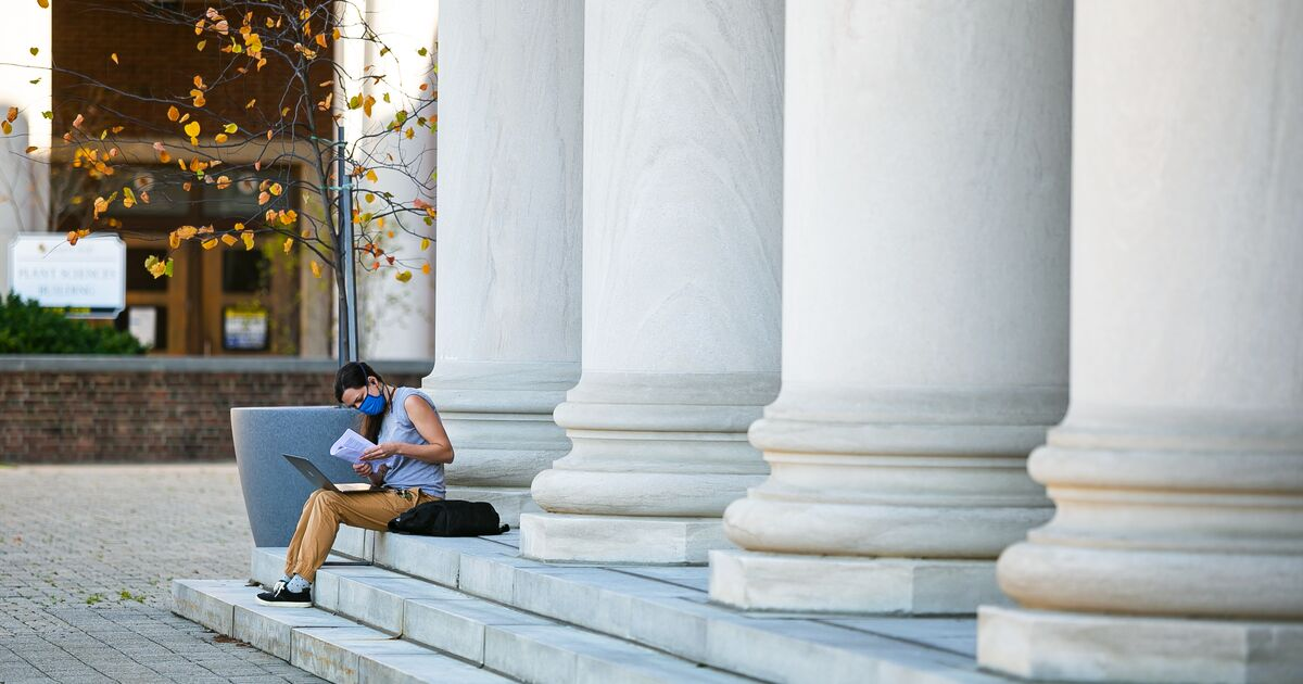 Student reading on the steps of a campus library