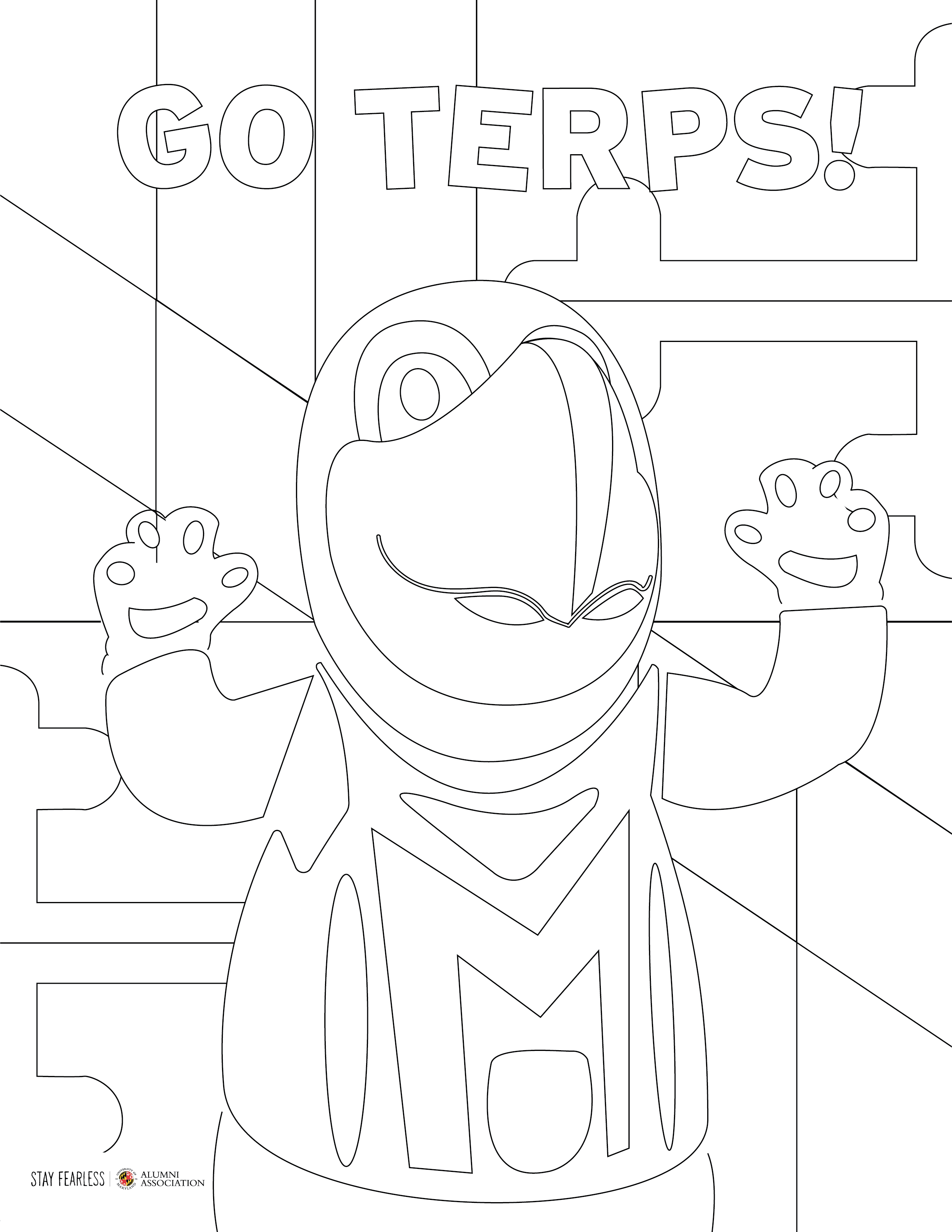 Testudo coloring book page.