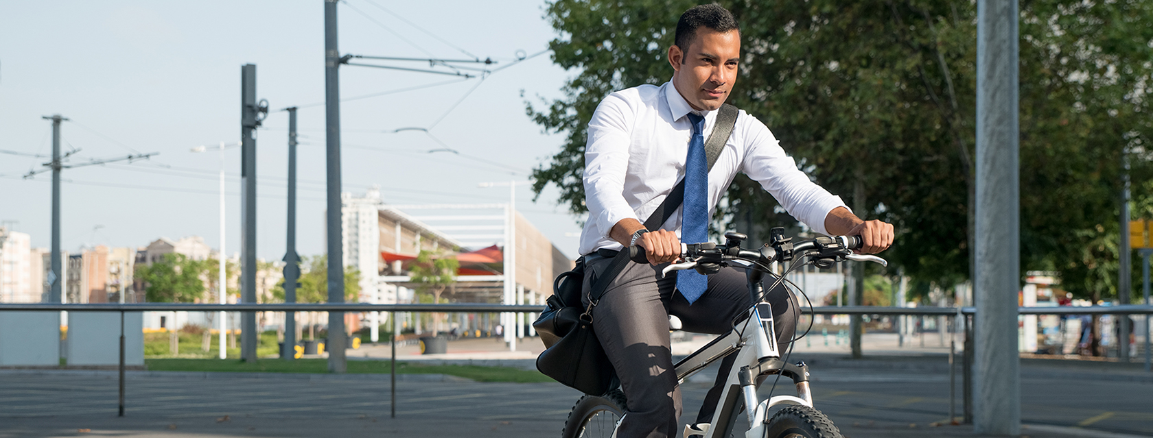 Photo of a person biking to work