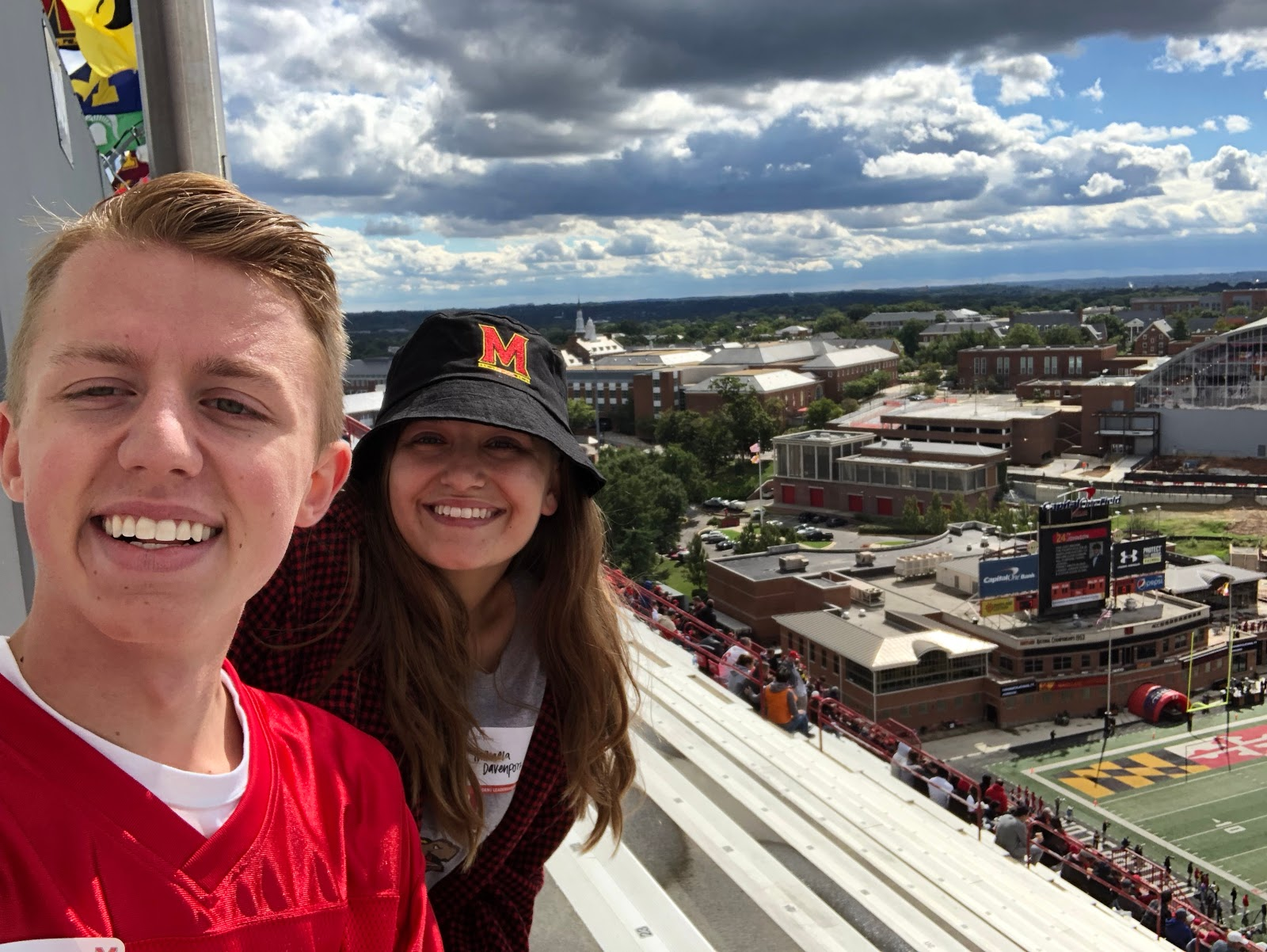 Andrew String '21 at the top of the Maryland Stadium.