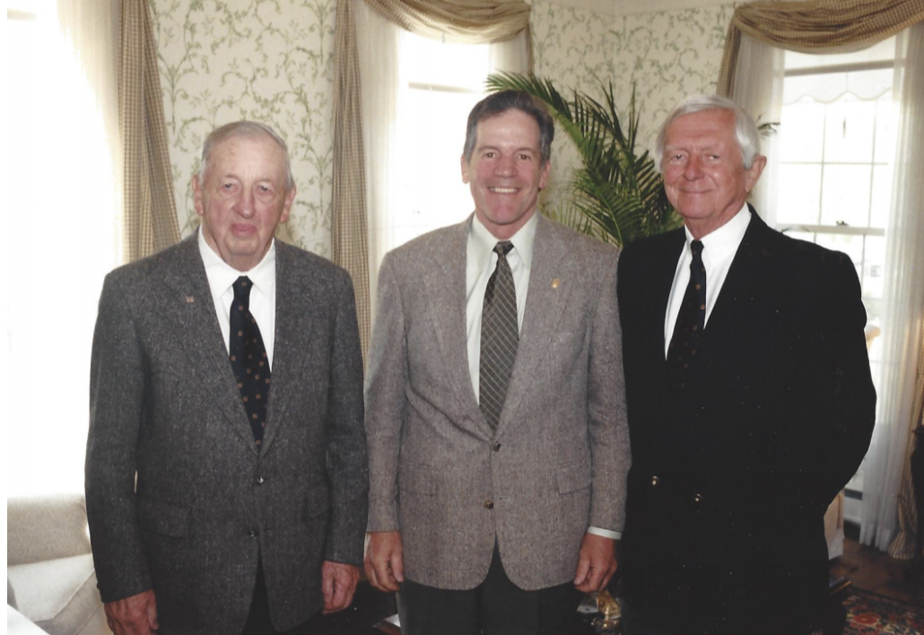 From left to right: Samuel Riggs IV '50, Edwin Fry '69 and Hugh Newell Jacobson '51