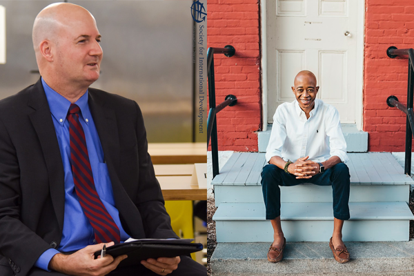 Side by side photos of Chris Light '92, '93 (left) and Danilo de Sousa Nhantumbo, M.A. '18 (right)
