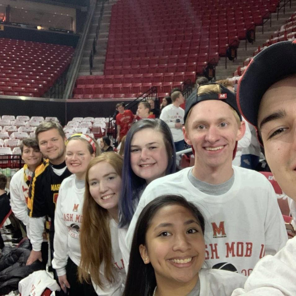 Charlie King '22 with his friends at a flash mob game.