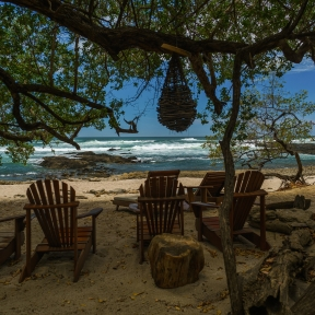 Chairs placed under trees shade on the beach of Costa Rica